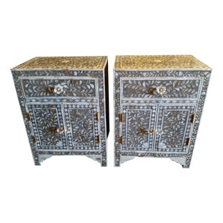Mother of Pearl Inlay Nightstand/End Tables - Pair