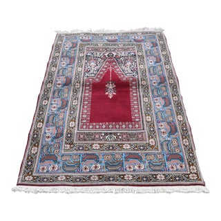 Vintage Turkish Oushak Handmade Prayer Rug - 3′11″ × 5′11″