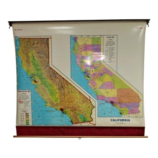 Vintage Cram Pull Down State of California School Map