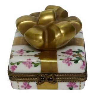 Limoges France Hand Painted Chintz Trinket Bow Box