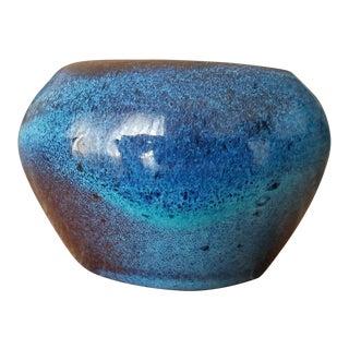 Evans Pottery Mottled Blue Bowl