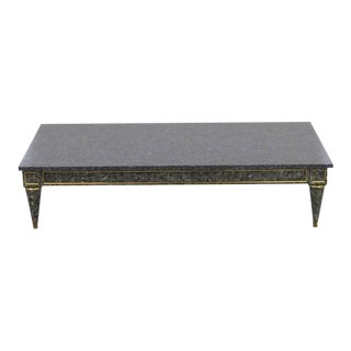 Jansen Style Faux Painted Marble Top Coffee Table