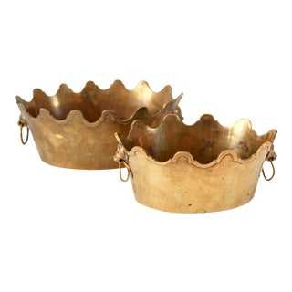 Lion Head Brass Scalloped Planters, Pair