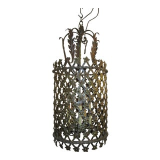 Floral Tole Lantern With 5 Lights