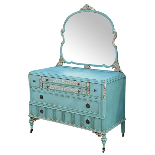 Hand-Painted Depression Era Dresser with Mirror - Image 1 of 10