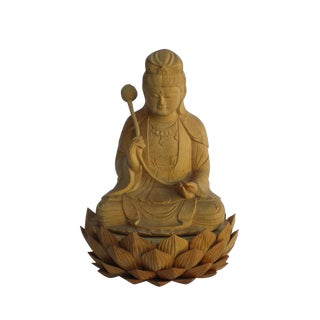 Chinese Sandalwood Carved Kwan Yin Lotus Base Statue