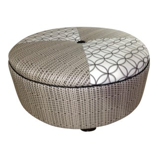 Dual Patterned Fabric Ottoman