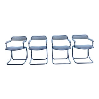 Vintage 1970s Tubular Dining Chairs - Set of 4