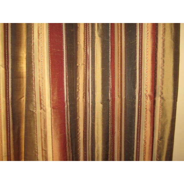 Striped Silk Drapery Panels - Image 3 of 4