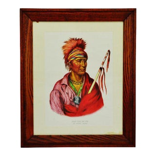 Vintage Native American Indian Ioway Chief Lithograph Copy