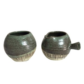 Mid-Century Pottery Art Sugar & Creamer Set