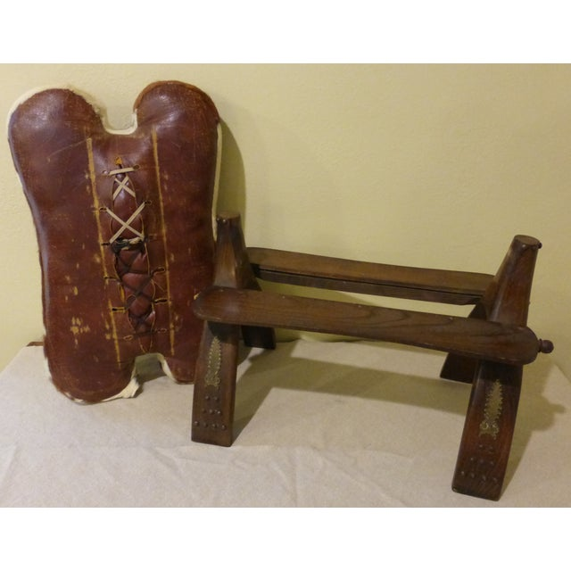 Antique Camel Saddle Stool With Cowhide Cover - Image 9 of 9