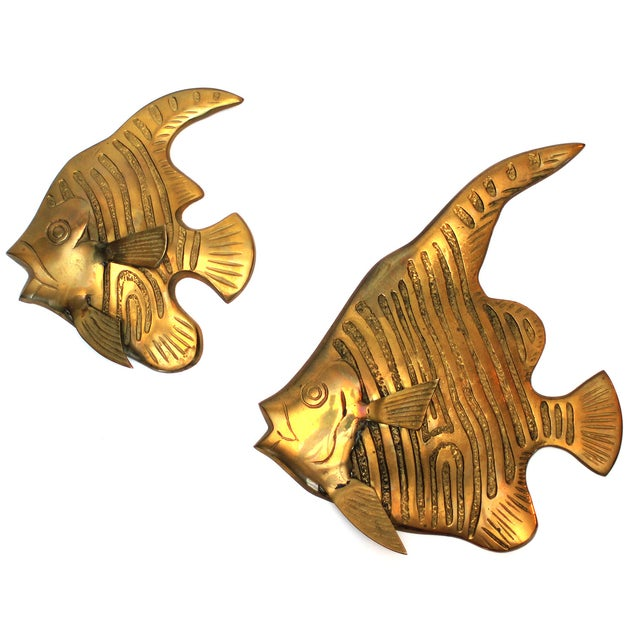 Image of Brass Angel Fish Wall Sculpture - Pair
