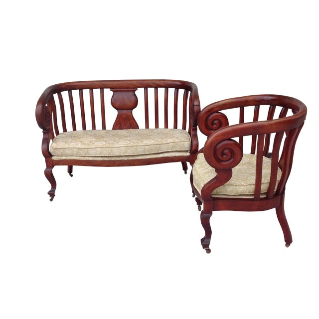 Antique Empire Spiral Loveseat & Chair Set - Image 1 of 5