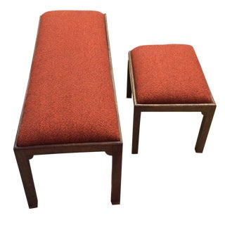 1970s Tweed Upholstered Bench Set - a Pair