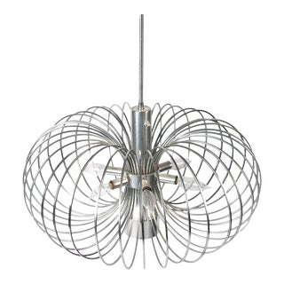 Gaetano Sciolari for Lightolier Round Metal Cage Chandelier