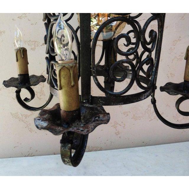 Art Deco Iron Chandelier Lantern - Image 3 of 4