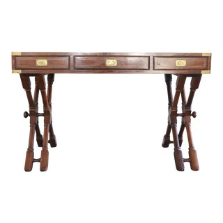 Campaign Style Rosewood & Brass Inlay Desk