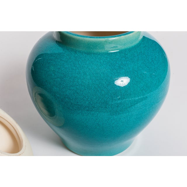 Turquoise Blue Urns - A Pair - Image 4 of 5