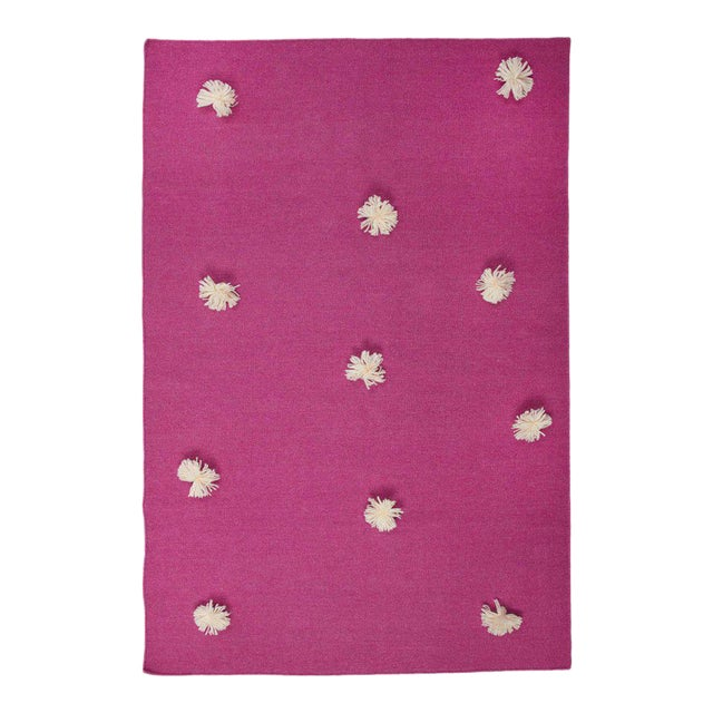 Flat Woven Dhurrie Pink & White Pom Rug - 4' x 6' - Image 1 of 3