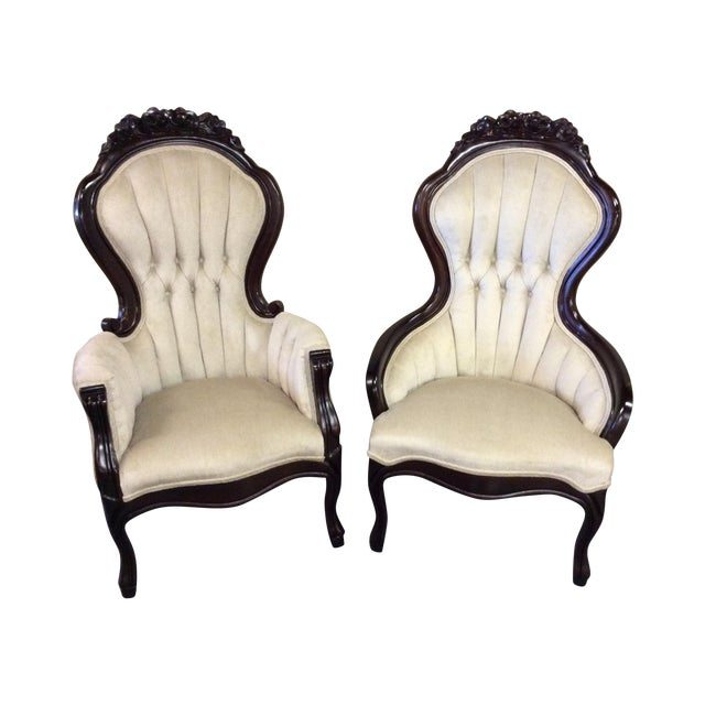 Wooden Victorian Chairs - Pair - Image 1 of 11