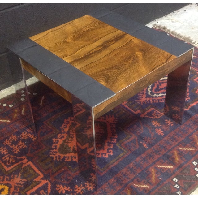 Image of Milo Baughman Rosewood And Chrome Side Table