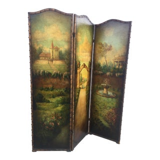 6 Ft Antique Painted Leather Screen W/ Pastural Scene