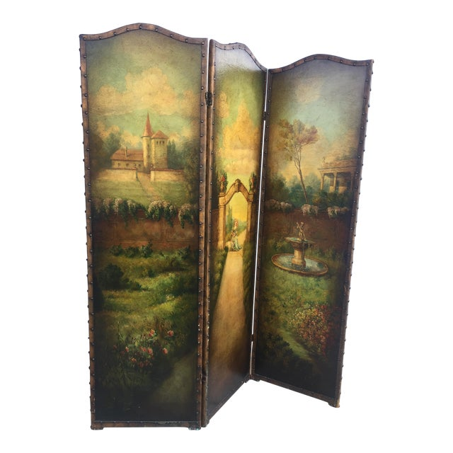 6 Ft Antique Painted Leather Screen W/ Pastural Scene - Image 1 of 10