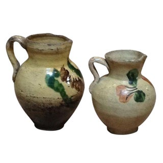 Vintage Spanish Pottery Creamers - A Pair