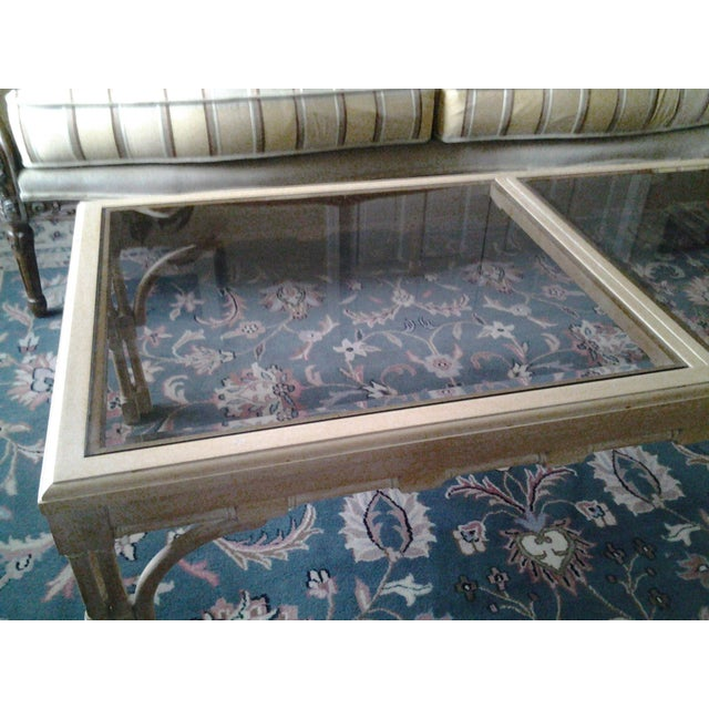 Transitional Wood & Glass Coffee Table - Image 5 of 7