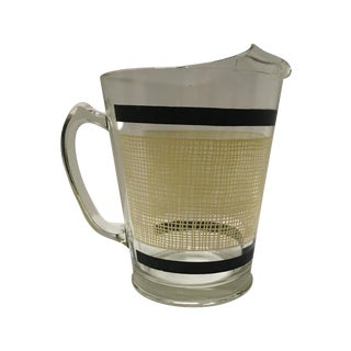 Mid-Century Yellow Check Lemonade Pitcher