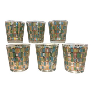 Cera Turquoise & Gold Drinking Glasses - Set of 5