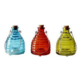 Vintage Glass Fly Trap - Set of 3