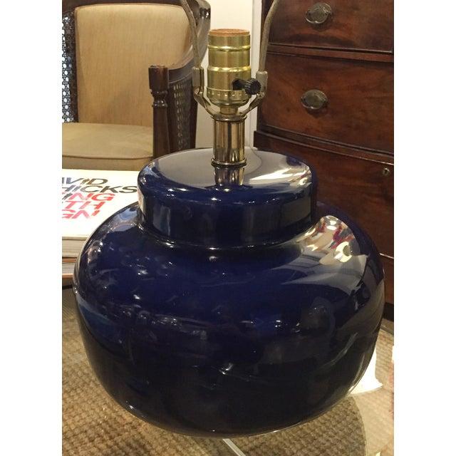 Mid Century Cobalt Blue Ceramic Lamp - Image 7 of 8