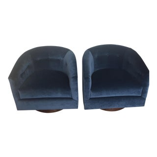 Navy Tufted Velvet Swivel Barrel Chairs - a Pair