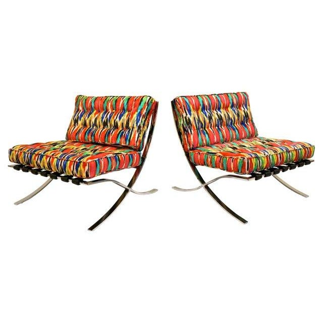 Ikat Barcelona Style Chrome Chairs - A Pair - Image 1 of 7