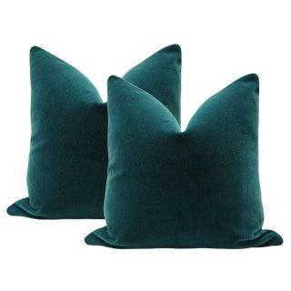 """22"""" Teal Mohair Velvet Pillows - a Pair"""
