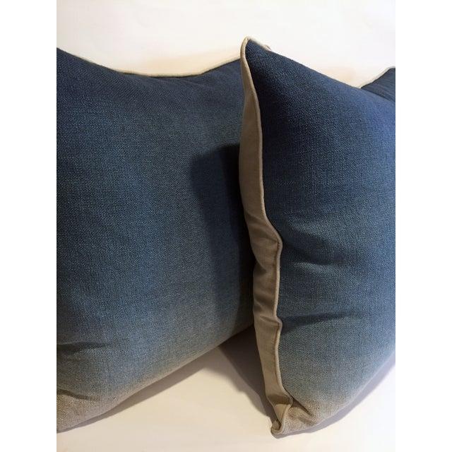 Image of Belgian Linen Blue Ombre Pillows - A Pair