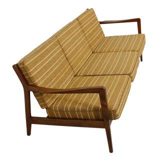 MCM/Danish Modern Walnut Frame 3-Seat Sofa with Slat Back and Upholstered Cushions