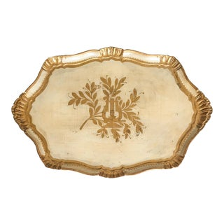 Large Italian Florentine Cream & Gold Tray