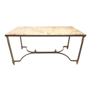 Vintage French Maison Jansen Marble Top & Metal Base Coffee Table