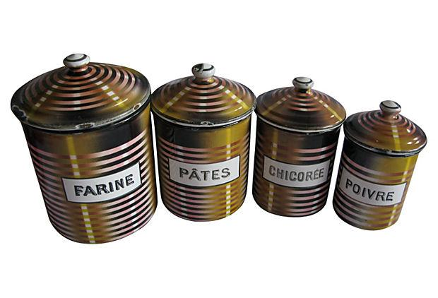 french enamel kitchen canisters set of 4 chairish