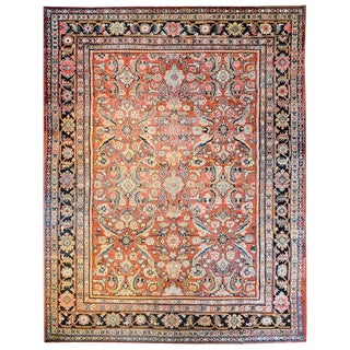 Early 20th Century Persian Mahal Crimson Floral Rug - 9′ × 12′