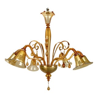 Large Venini Amber Murano Glass Six-Arm Chandelier