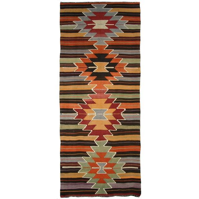 Vintage Turkish Kilim Usak Flatweave - 4'5 X 11'9 - Image 1 of 5