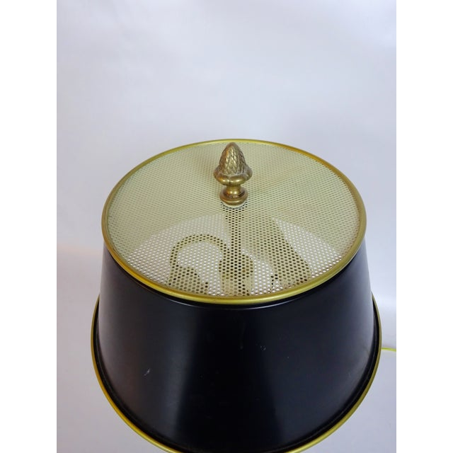 Image of Vintage Brass Palm Table Lamp with Black Shade
