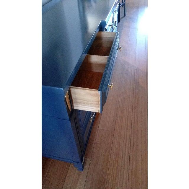 Drexel San Remo High Gloss Blue Nine Drawer Dresser Credenza - Image 6 of 7
