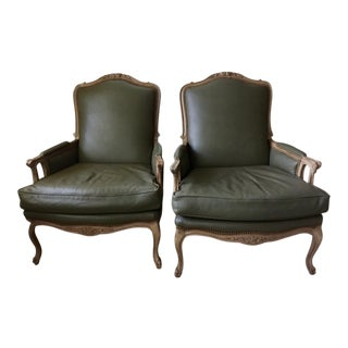 Leather Faux Antique Chairs - A Pair