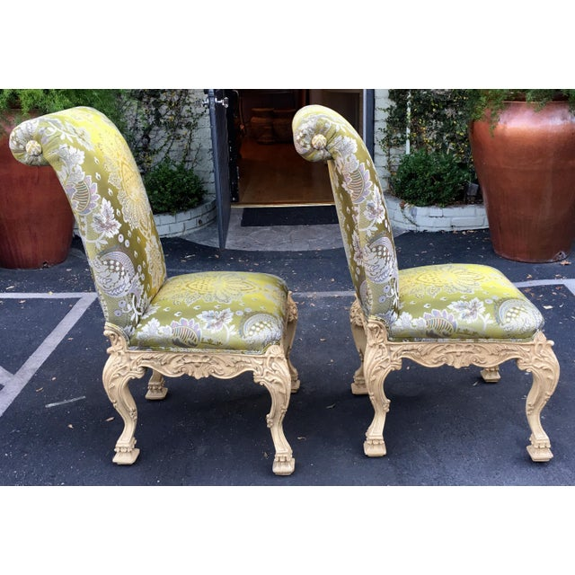 Carved Italian Side Chairs With Venetian Style Green Silk Lampas - Image 5 of 5