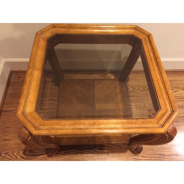 Square Glass And Oak Coffee Table
